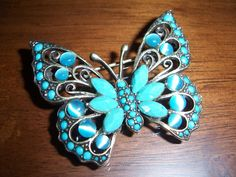 Vintage Liz Claiborne Aqua Moonstone Beaded Butterfly Brooch Pin via Etsy