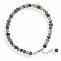 Sterling Silver 9 Inch +1 Inch Multicolor Magnesite Bead Anklet Sterling Silver Collection. $25.99