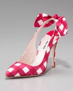 Miu Miu 'Check Bow-Detail' Slingback Pump #highheeledshoes