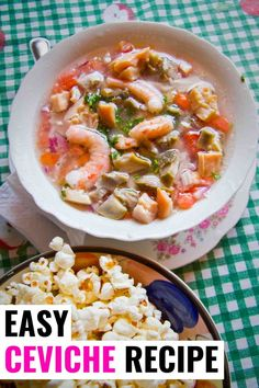 Ecuadorian ceviche is so easy to make and delicious served with popcorn. It's a simple shrimp ceviche that is gently cooked and then acid is added for flavour. Ecuadorian Ceviche Recipe, Ecuadorian Recipes, How To Make Ceviche, Shrimp Ceviche, How To Cook Shrimp, Seafood Dishes, International Recipes, Quick Easy Meals, Dinner Recipes