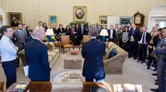 President Obama and V.P. Biden Biden face dozens of communication staff members, filling the Oval Office, on the day after Donald Trump's election victory.