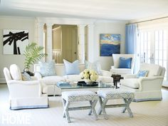 Kathi Blinn's black and white painting Jammin and Teodora Guererra's Blue Mist…                 An astute layering of soft blues keeps things fresh and interesting in this elegant living room.  Architecture: Louise Brooks, Brooks & Falotico Associates, Interior Design: Lynn Morgan, Lynn Morgan Design, Photography: Tria Giovan