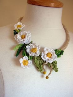 Crochet Daisies Cotton Floral Necklace Choker in by FlowersbyIrene www.etsy.com