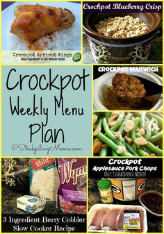 Here is a Crockpot Weekly Menu Plan full of amazing recipes, to help you save time and money this week on dinners!