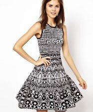 Karen Millen Black White Knit Skater Dress Intarsia Jacquard Size 3 12 RRP £150!