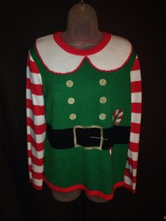 Holiday Time Ugly Christmas Sweater Party Elf Santa's Helper Red Green Medium  #HolidayTime #Crewneck