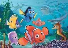finding nemo: nemo, merlin, dorie, pearl (pink jelly fish), Sheldon (seahorse), yellow fish?
