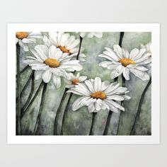 The original watercolor painting came from a photo I snapped in my aunt's daisy garden.
