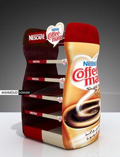Stand shaped as a product // Nescafe & coffee-mate Pos Design, Stand Design, Coffee Advertising, Shop Shelving, Cardboard Display, Coffee Stands, Displays, Counter Design, Dessert