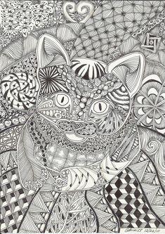Kitten on a Mat Abstract Doodle Zentangle Paisley Coloring pages colouring adult detailed advanced printable Kleuren voor volwassenen coloriage pour adulte anti-stress kleurplaat voor volwassenen Cat: