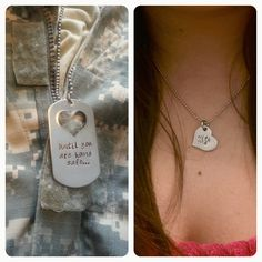 Customize Your Own Necklace Set Stainless Steel and Heart Necklace Set for Military Couples, Deployment Jewelry by MissAshleyJewelry, $45.00