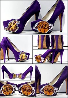 Los Angeles Lakers Crystal and Glitter Shoes by WickedAddiction, $200.00