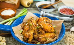 Sticky Teriyaki Chicken Wings and Parsnip French Fries