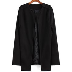 Round Neck Woolen Cape Coat ($20) ❤ liked on Polyvore featuring outerwear, coats, jackets, black, short cape, short wool coat, wool coat, black cape and black coat