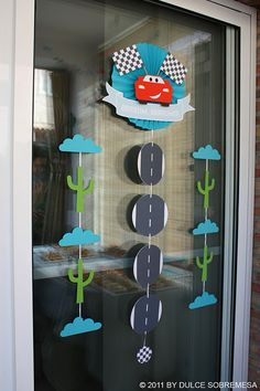 Front door decor Disney Pixar's Cars Birthday Party- Lighting Mcqueen Party - Kara's Party Ideas - The Place for All Things Party Car Themed Parties, Cars Birthday Parties, 3rd Birthday, Birthday Ideas, Lightning Mcqueen Party, Lightening Mcqueen, Pixar Cars Birthday, 2 Baby, Disney Cars Party