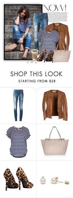 """""""Get the Look"""" by wishlist123 ❤ liked on Polyvore featuring 7 For All Mankind, Ichi, Valentino, Piel Leather, GetTheLook, leatherjacket, BloggerStyle, LeopardPrint and stripedtop"""
