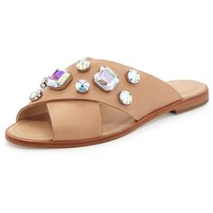 "Loeffler Randall. Echo Jewel-Embellished Sandal, Wheat/Pearl. Loeffler Randall leather sandal with jewel-embellished upper. 0.25"" flat heel. Crisscross vamp st…"
