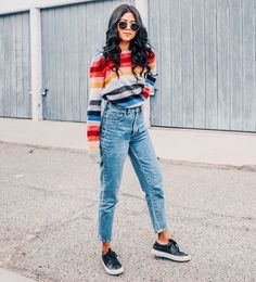 Colorful stripes sweater, colorful sweater, striped sweater, boyfriend denim look,