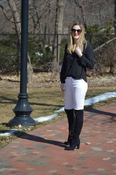 Style in a Small Town | Black OTK Boots   White Jeans | http://www.styleinasmalltown.com