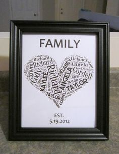 "Wedding Gift - Word Cloud...I had been wanting to make one of these and it was for a blended family, so in the word cloud I just entered the mom/dad/6 kid's names, put ""Family"" at the top instead of last name, and the wedding date at bottom...printed in 8x10 and framed...link is to various word cloud makers - I like Tagxedo best:)"
