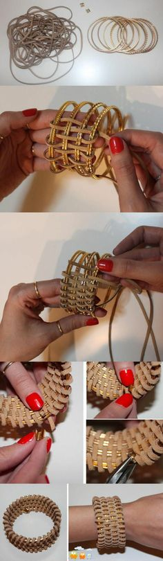 need bangles, faux suede cord, and metal pieces to secure the suede to the bangle