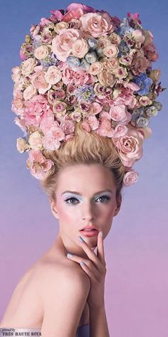 As i was scrolling through all these pastels, i couldn't help but think of Marie Antoinette, and the costume design from the film. Beautiful, and fitting. Dior Trianon Spring 2014 inspiration for floral hair peices Marie Antoinette, Avant Garde Hair, Rosa Pink, Beauty And Fashion, Floral Fashion, Trendy Fashion, Fashion Ideas, Fashion Trends, Hair Art