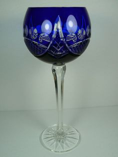 Bohemian Wine Hock Glass Cobalt Blue Crystal Cut to Clear - Near Mint Cobalt Glass, Cobalt Blue, Wine Goblets, Blue Crystals, Wine Glass, Bohemian, Mint, Pottery, Awesome Things