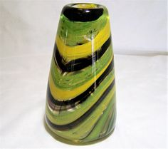 Contempory style hand blown art glass vase Continuous swirl of olive green, black,clear and yellow 6 inches high, 3.5 inches wide at the base Signed, but hard to read, Akol... #gotvintage #minimalist #modernist