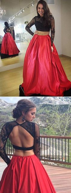 Two Pieces Prom Dresses, Red Prom Dress,Black Prom Dresses,Long Sleeve Prom Dress, Backless Prom Gowns,Long Sleeve Prom Dress,LaceProm Dresses,Sexy Prom Dress,Cheap Prom Dresses, A-Line Prom Dress,Long Prom Dresses