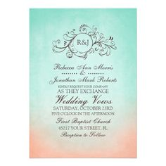 Mint and Peach Bohemian Wedding Invitation In grey & yellow instead?