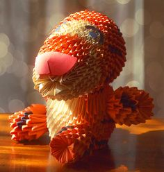 Origami Tigger    There are many types of Origami Artwork for example wet-folding, action origami, Modular origami, Pureland origam, origami tessellations, Kirigami, mathematical origami, technical origami etc. Here are 30+ stunning Origami Artwork that's fun but not easy