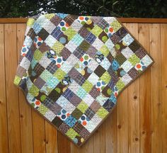 Baby Boy Quilt  - brown and green patchwork squares