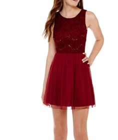 SpeechlessR Sleeveless Sequin Bodice Chiffon Skirt Dress