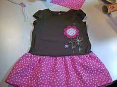 cute idea for little girls who love dresses, just make a simple skirt and sew it onto one of their t-shirts <3