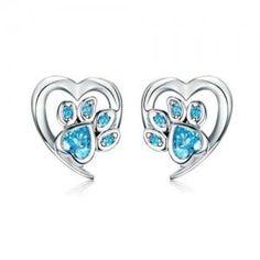 Types Of Earrings, Sterling Silver Earrings Studs, Heart Earrings, Women's Earrings, 925 Silver, Pandora, Blue Zircon, Blue Crystals, Jewelry Box