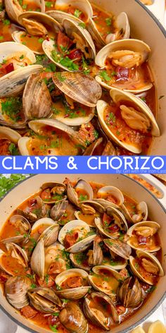 These littleneck clams steamed in white wine, surrounded by aromatics, and rich in umami from chorizo, will be the most flavorful clams you'll eat. The zesty clam and chorizo broth is deliciously soaked up with your favorite bread or pasta. Clam Recipes, Best Seafood Recipes, Chowder Recipes, Fish Recipes, Asian Recipes, Cooking Recipes, Ethnic Recipes, Recipies, Chorizo