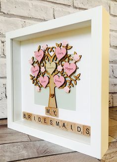 This listing is for a personalised family tree bridesmaids best friends gift frame. Designed in style of your choice and up to 12 heart names can be added. Available in either a black or white frame. When ordering please add your requirements and I will make a start as soon as possible. Once approved I will securely package the frame and have it safely delivered. Subject to availability dispatch may take up to 7-10 days from ordering. I shall keep you informed throughout and work with you…