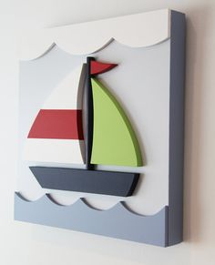 Nautical Wood Sailboat Wall Art for Kids Rooms, Sailboat Nautical Nursery Decor - Baby Wall Art, Art Wall Kids, Wood Wall Art, Art For Kids, Wood Walls, Nautical Nursery Decor, Baby Room Decor, Sailboat Art, Woodworking For Kids