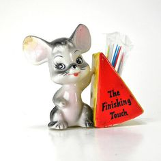 vintage mouse and cheese plastic party toothpick holder MR CHEEZY by Dr.Vintage, via Flickr