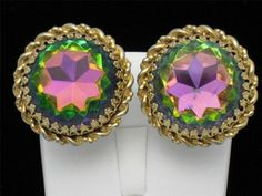 SCHIAPARELLI Classic 1950s Gold Plated  Watermelon Large Clip Style Earrings #Schiaparelli http://stores.ebay.com/atouchofrosevintagejewels