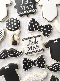 Food Photography: Little Man Black and White Baby Cookies – One Dozen Decorated Sugar Cookies Baby Boy Cookies, Man Cookies, Baby Shower Cookies, Cute Cookies, Cupcake Cookies, Bow Tie Cookies, Monogram Cookies, Shower Cake, Black And White Cookies
