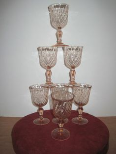 Set of 7 Areoroc Pink Goblet Glass with Swirls made in France 5 ¾ inch Rosaline  #Arcoroc