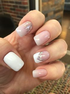 Pinterest inspired... Nude, white and silver glitter. These may be my favorite! #shellac #gel #nailedit #nails