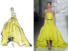 Jason Wu's yellow dress sketch next to the photographed final outcome. I really like this design because it shows how similar the outcomes can be to the original idea.