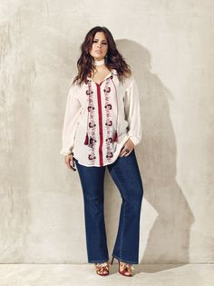 Love & Legend peasant blouse and flare jeans from Addition elle spring 2016 plus size fashion