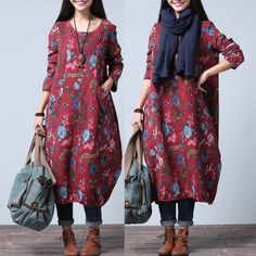 Women cotton winter long dress - Tkdress  - 1