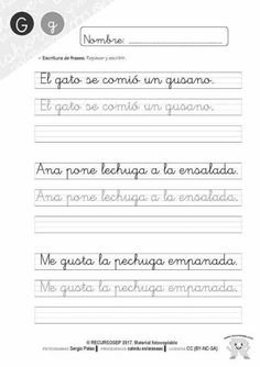 cartilla-lectura-recursosep-letra-g-actividades-fotocopiables-006 Spring Activities, Activities For Kids, Cartoon Drawing For Kids, Handwriting Analysis, Hand Lettering Practice, Cursive Letters, School Notebooks, Letter Templates, Math Equations