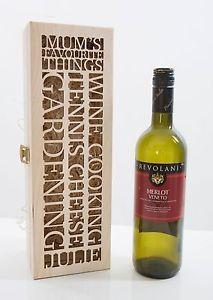 Personalised Wooden Wine Box Gift Wedding Anniversary Laser Cut ...