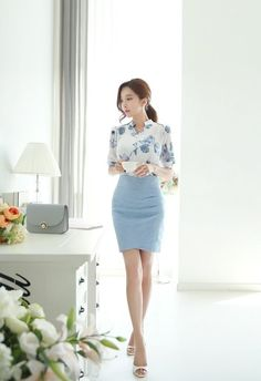Linen Ruched Wrap Pencil Skirt : Romantic & Trendy Looks, Styleonme Stylish Work Outfits, Office Outfits, Classy Outfits, Work Fashion, Cute Fashion, Fashion Outfits, Women's Fashion, Korean Fashion Trends, Asian Fashion