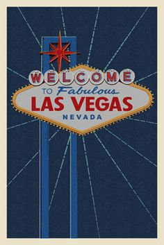 Welcome to Las Vegas Sign - Letterpress - Lantern Press Poster